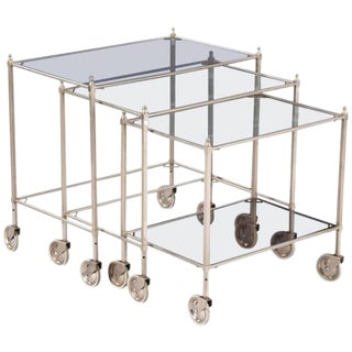 Nickel Nesting Tables From Germany, 1970s - Set of 3
