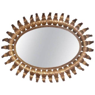 Hollywood Regency Oval Brass Mirror