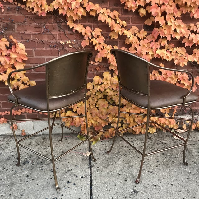Vintage Bronze Bar Stools - a Pair - Image 2 of 6