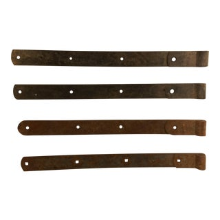 Antique Hand-Hewn Iron Barn Door Hinges - Set of 4