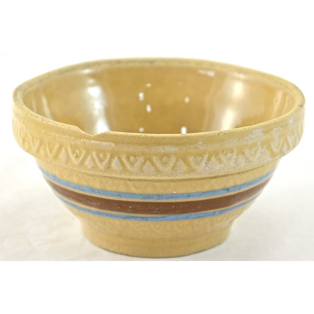 "1930s Blue Stripe 5"" Yellow Ware Bowl - Image 3 of 5"