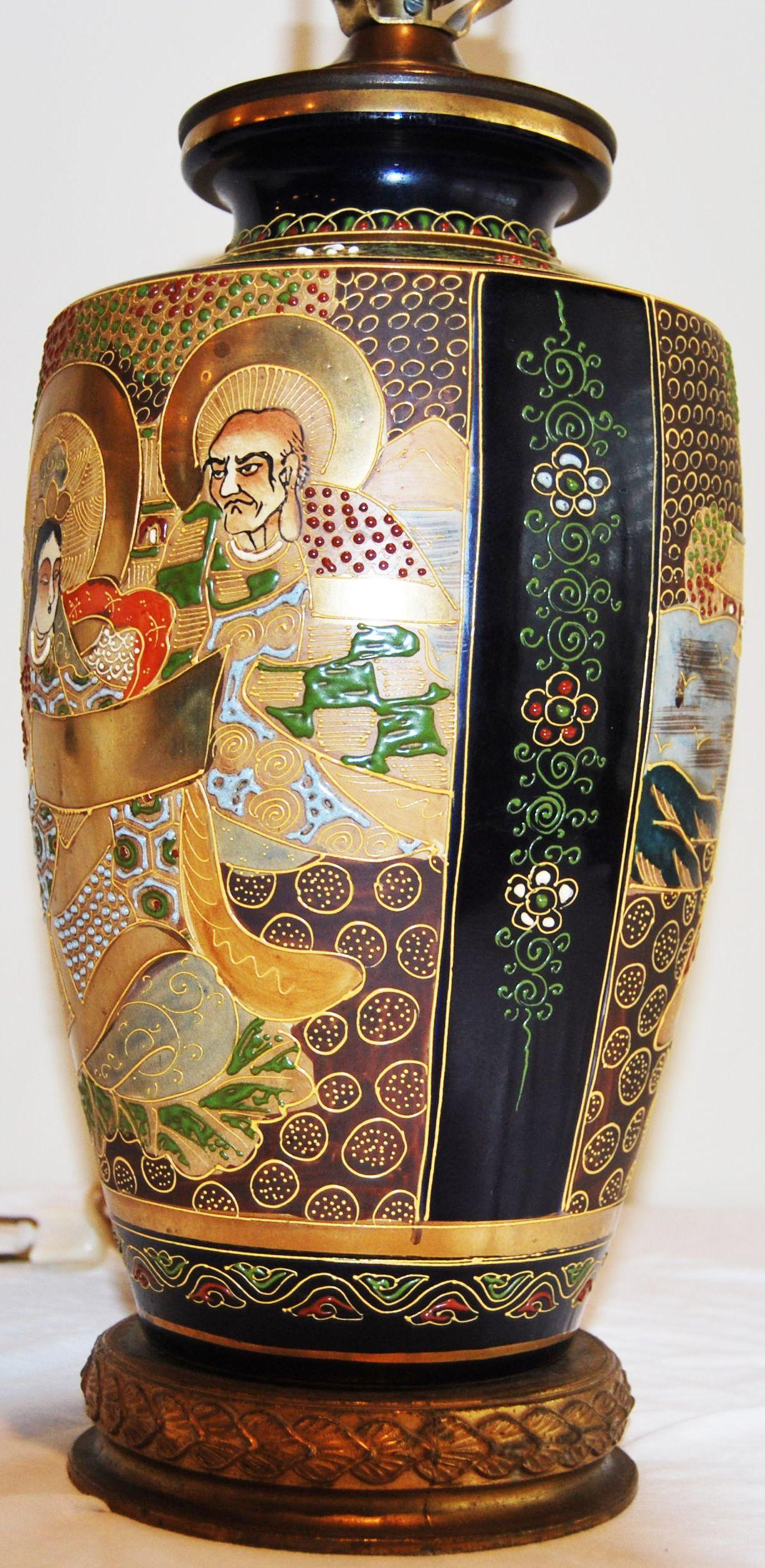 Japanese Satsuma Pottery Vase Table Lamp   Image 2 Of 7