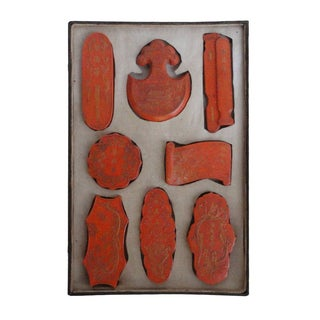 8 Double Carved Red Color Calligraphic Ink Stone