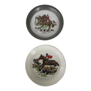 Vintage Horse & Hounds Mis-matched Coasters- Set of 2