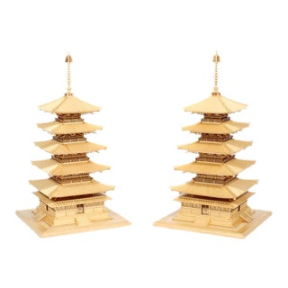Pair of Carved Wood Pagodas