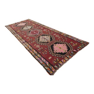 Vintage Turkish Handmade Kilim Rug Large Runner - 5′7″ × 14′2″