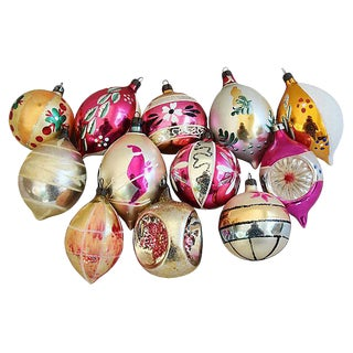Hand Decorated European Christmas Ornaments w/Box - Set of 12