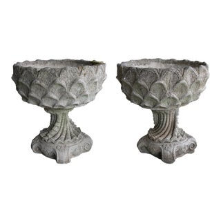 Large Pair of Italian Cast Stone Garden Urns in the Grotto Taste