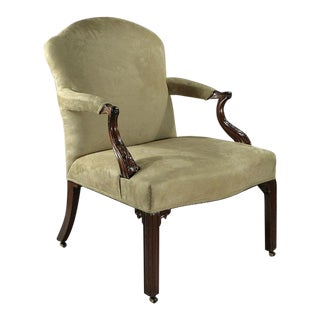 Fine Early George III Carved Mahogany Gainsborough Open Armchair