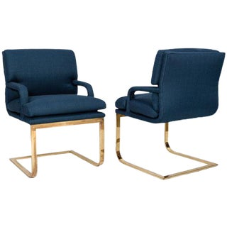 Vintage Brass & Blue Linen Chairs - A Pair