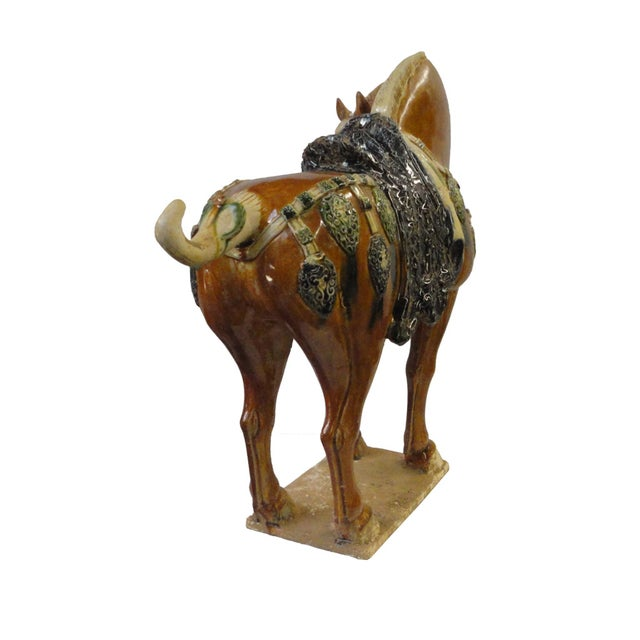 Image of Chinese Porcelain Battle Horse Statue Figurine