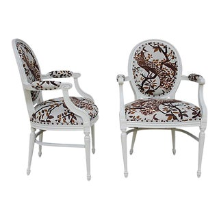 Vintage Peacock Print Chairs- A Pair