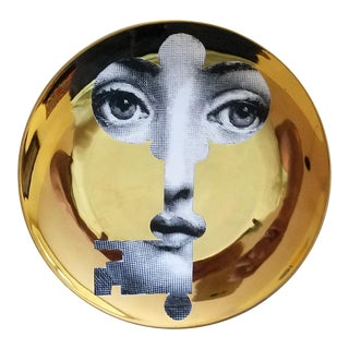 Fornasetti Gold Tema E Variazioni Plate, Number 47, the iconic image of Lina Cavalieri, Atelier Fornasetti.