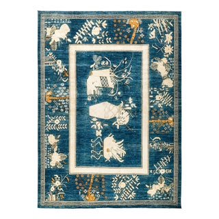 "Blue Traditional Hand Knotted Area Rug - 9'1"" X 11'10"""