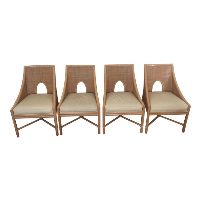 McGuire Barbara Barry Petite Caned Arm Chairs - Set of 4 - Image 1 of 10