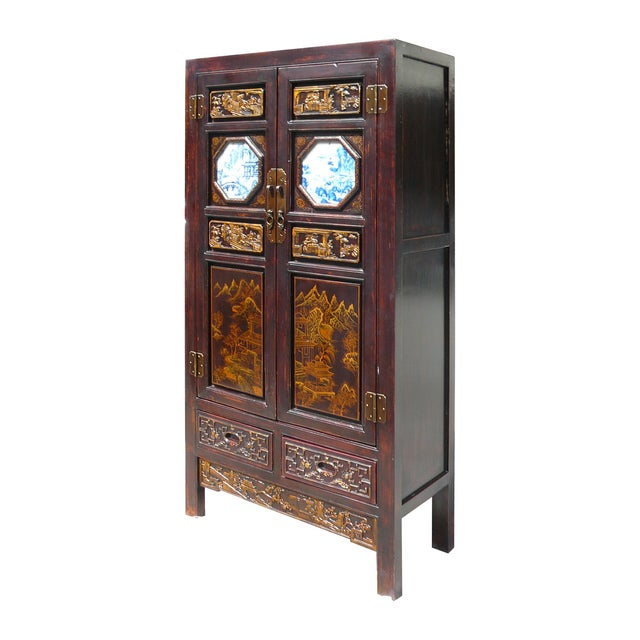 Hand Made Chinese Wood Carved Armoire - Image 3 of 6