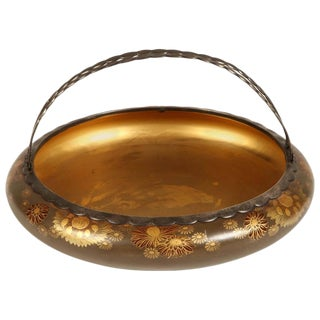 19th Century Japanese Meiji Style Lacquer Bowl with Silver Handles