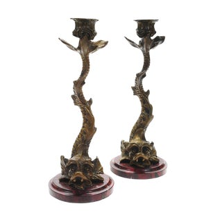 "Antique Bronze Dolphin 10"" Candle Sticks - 2"