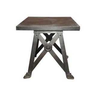 Industrial Iron and Slate Train Trestle Table