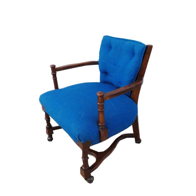 Hollywood Regency Wood Desk Chair with Caning - Image 2 of 6