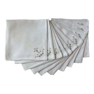 10 Vintage Italian Embroidered Linen Napkins