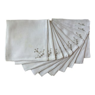 Vintage Italian Embroidered Linen Napkins - Set of 10
