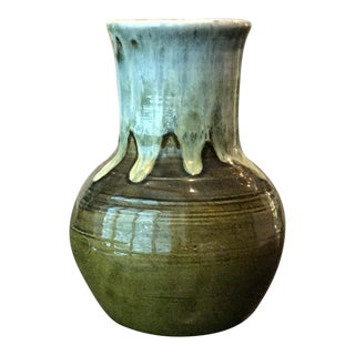 Vintage Green Studio Pottery Drip Glaze Vase