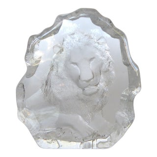 Mat Jonasson Swedish Etched Glass Lion