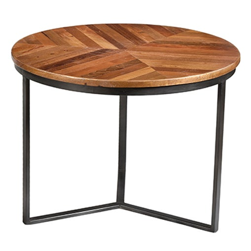 Image of Iron & Wood Round Nesting Tables- Set of 3