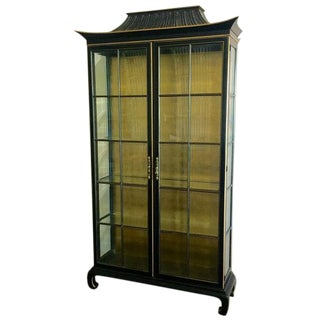 Vintage Chinoiserie Pagoda Display Cabinet in Black