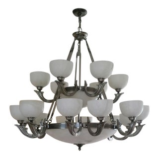 Alabaster & Pewter Chandelier