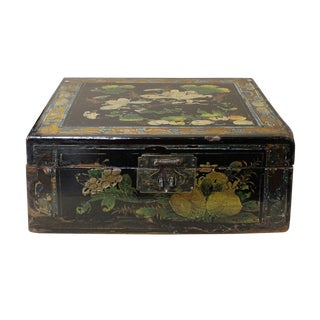 Vintage Chinese Square Wood Black Lacquer Box Display cs2590