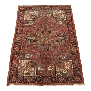 """Thick & Heavy Vintage Persian Heriz 70-Year-Old Rug - 6'10"""" x 9'7"""""""