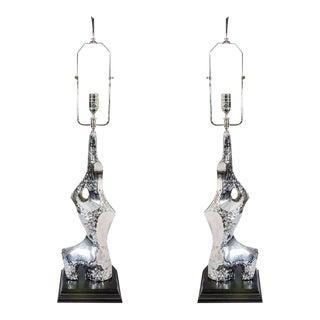 Circa 1970 Laurel Brutalist Chrome Table Lamps - A Pair