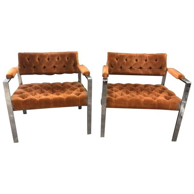 Pair of Milo Baughman Chrome and Velvet Tufted Arm or Lounge Chairs - Image 2 of 11