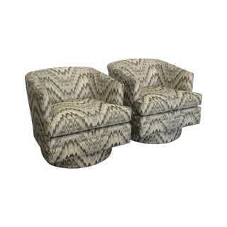Mid-Century Modern Gray Swivel Chairs - A Pair