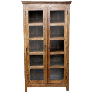 British Colonial Glass Door Cabinet
