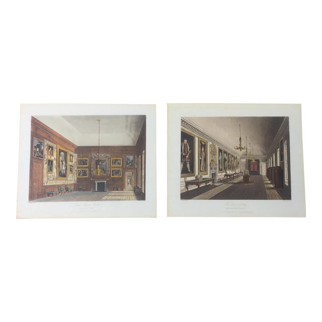 Image of 1819 English Interiors Colored Engravings- A Pair