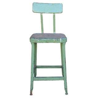 Vintage Industrial Green Stool
