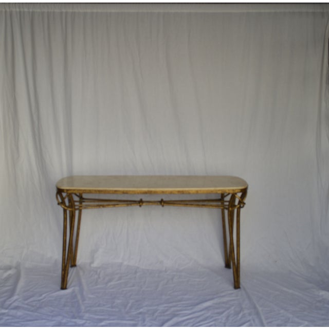 1970s Gold Leaf Console with Travertine Top - Image 2 of 7