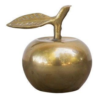 Vintage Mid-Century Brass Plated Apple Bell Paperweight