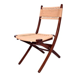 Mid-Century Danish Modern Rope Folding Chair