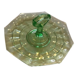 Vintage Green Glass Handled Serving Tray