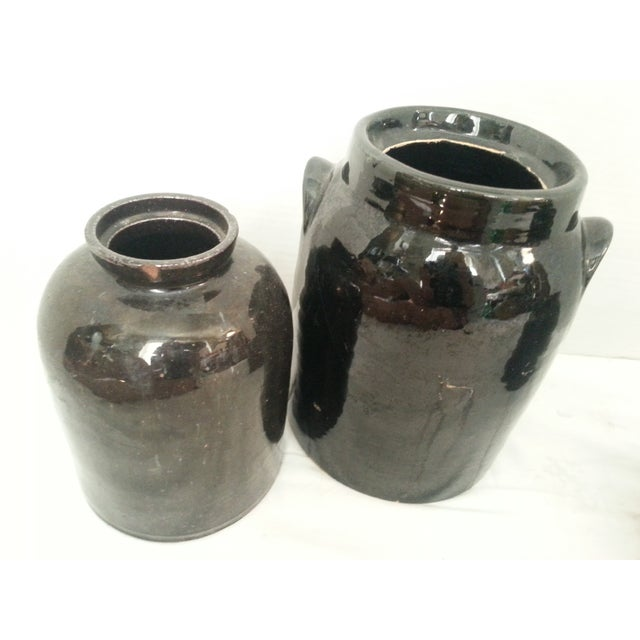 Image of Chocolate Brown Glazed Jars - Set of 3