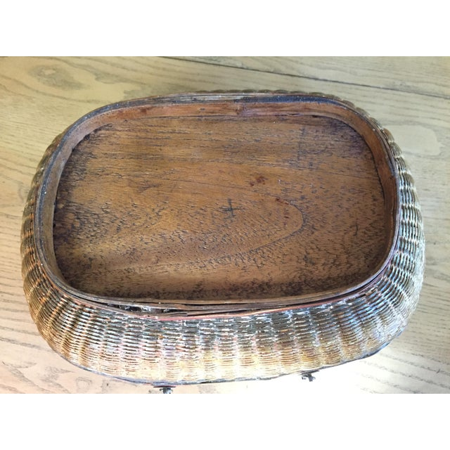 Vintage Chinese Bamboo Sewing Basket - Image 7 of 11