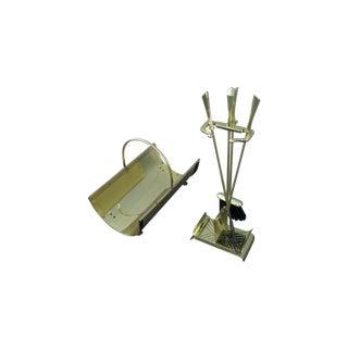 Vintage 1970 Modern Brass Fireplace Tools & Holder