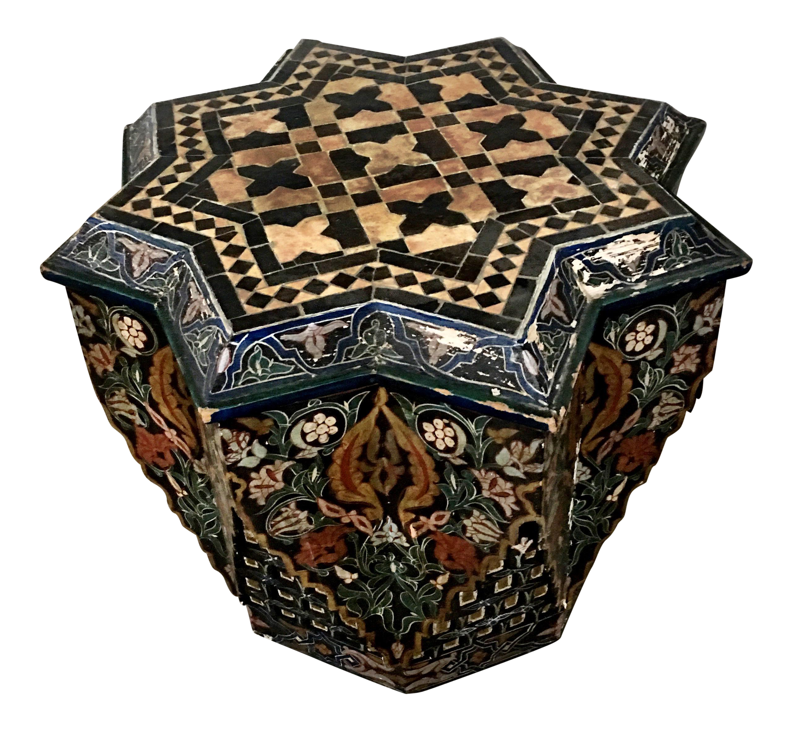 Moroccan Stone Top Hand Painted Table