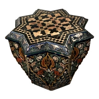 Moroccan Stone Top Hand-Painted Table
