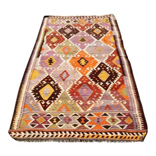 Vintage Turkish Kilim Rug - 4′10″ × 8′4″