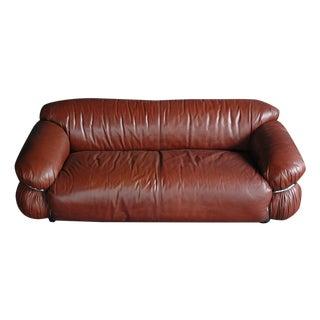 Gianfranco Frattini Sesann Leather Sofa 1970s
